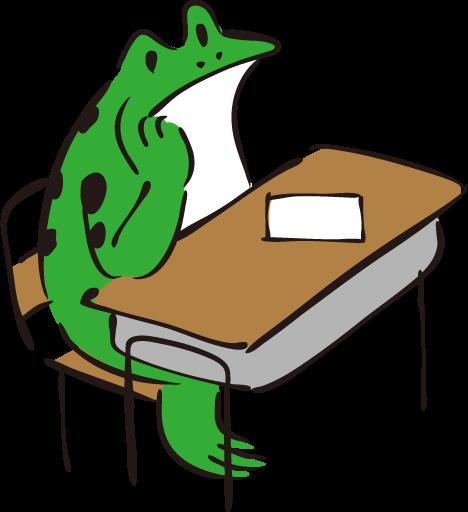 授業を受けるカエル