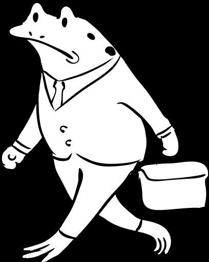 通勤するカエル